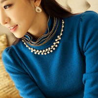 2015 New Women Slim Solid Knit Cotton Blouse Shirt Turtleneck Female O-Neck Brief Base Shirt = 1946218628