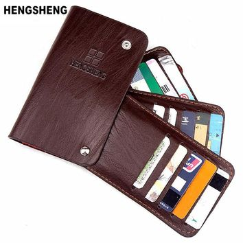 HENGSHENG Vintage Retro Style Genuine Leather Credit Card Case 3 Colours Rotate Hasp Card & ID Holders Business Card Holders 180