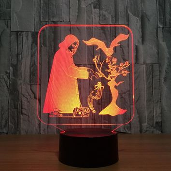 Scary Halloween 3D LED Night Light Lamp