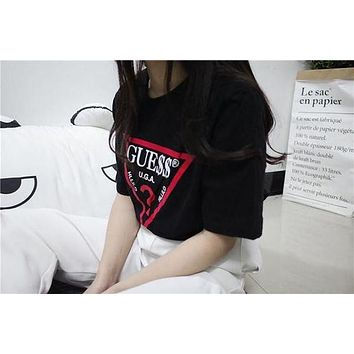 Guess Women  Fashion Casual Geometric Letter Pattern Print Short Sleeve Shirt Top Tee