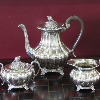 Community Old English Melon Coffee Tea Service 3 piece Silver Plated Coffeepot, Creamer, Lidded Sugar Circa 1920