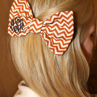 Burnt Orange Chevron Monogram Bow Tie Hair Bow