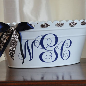 Beverage Tub/ Drink Tub/ Personalized/ Beverage Bucket/ Monogram/ White