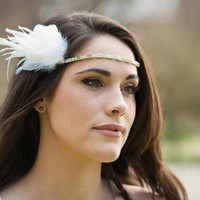 The Kaia Rhinestone and Feather Halo by Serephine on Etsy