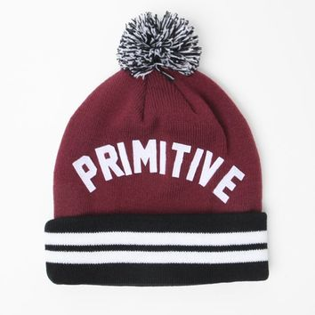 Primitive Arch Pom Beanie - Mens Hats - Red - One