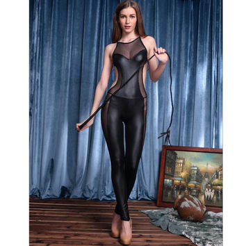 New  game PU leather mesh jumpsuit leotard costumes sexy back perspective