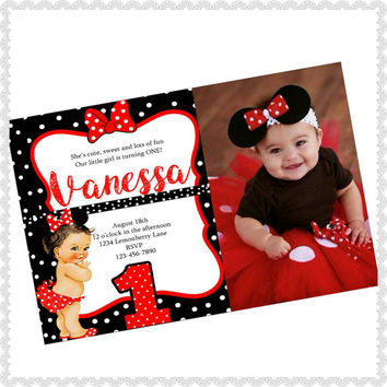 Minnie Mouse invitations, minnie mouse birthday, red minnie mouse invitations, minnie mouse party, 4x6, picture paper, baby, 1st, red. #2