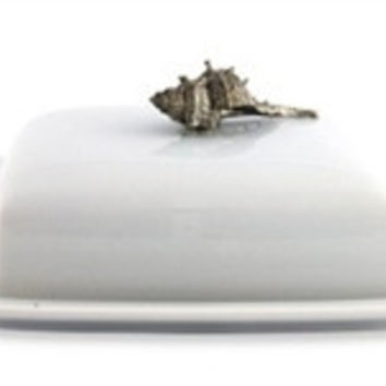 Shell Stoneware and Pewter Butter Dish