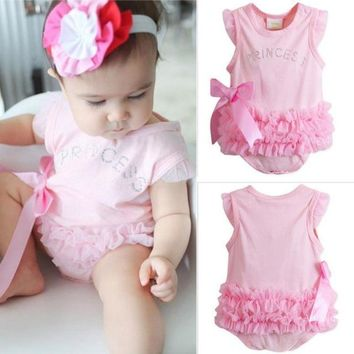Pink Layered Ruffle Crystals Baby Clothes Onesuits