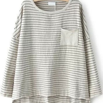 Grey Striped Short Sleeve Pocket T-Shirt