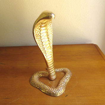 Vintage Brass Cobra Figurine, Gold Snake Statue, King Cobra Figurine, India Indian, Paperweight