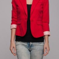 Business Attire Polka Dot Lined Cropped Blazer in Red | Sincerely Sweet Boutique