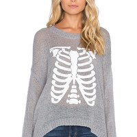 The Laundry Room Skinny Skelly Beach Bummies Sweater in Heather Grey