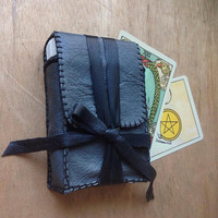 tarot bag • upcycled leather tarot case - tarot pouch - tarot card case - tarot card holder - tarot card bag - tarot deck case