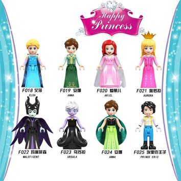 Cool For Legoing Princess Friends Figures Bricks Mermaid Snow White Ice Queen Sleeping Beauty Model Building Blocks Toys For GirlsAT_93_12