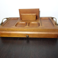 Vintage Wooden Dresser Valet/Jewelry Box with Brass Handles and Red Velvet Lining - Mid Century Modern