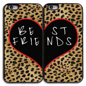 Best Friends in Leopard Matches Case for iPhone and Samsung Series,Two Differrent Phone Models Mixed OK