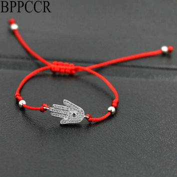 BPPCCR Ethnic Hamsa Hand Palm Red String Rope Bracelets Lucky Rojo Thread Cords Micro Pave CZ Crystal Braid Lovers Pulseras