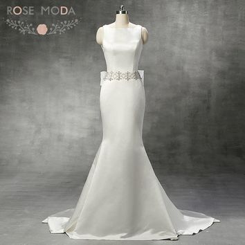 Chic Bateau Neck Sleeveless Mermaid Wedding Dress Double Pearl Straps Low Back Organza Bow Fitted Reception Dress Real Photo
