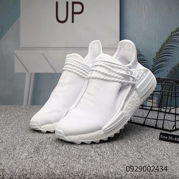 DCCK2 A405 Adidas Pharrell Williams Human Race NMD Knit Running Shoes White