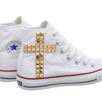 CREYON studded converse converse white high top with gold cross pattern studs by customduo o