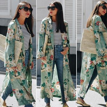 Autumn New Women Trendy Long Maxi Sexy Coats Lace up Green Jackets Ladies Summer Floral Print Beach Casual Cardigan