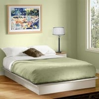 South Shore Basics Queen Platform Bed with Molding, White - Walmart.com