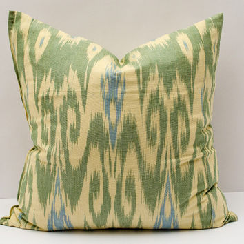 20x20, green cream ikat pillow cover. cotton ikat pillow cover, ikat cushion, decorative pillow