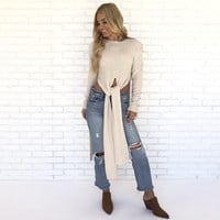 Knot A Chance Full Body Sweater Top In Cream
