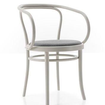 Gebruder Thonet Wiener Stuhl Bentwood Armchair with Upholstered Seat by GTV