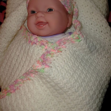Lovely Crochet Baby Blanket and Beanie Hat Set Baby Girl White with Pink Peach Green Border Handmade Newborn Gift