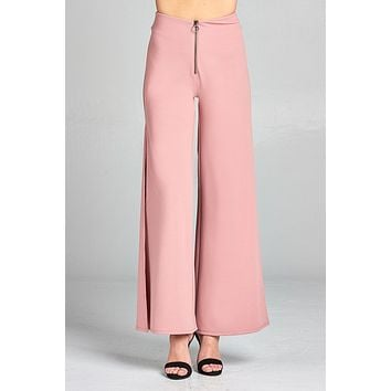Ladies fashion high waist front zipper detail side slit long woven pants