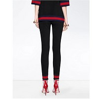 GUCCI Fashion Women Long Pants Red Blue Contrest Leisure Pants