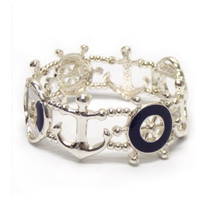"""Anchor Away"" Silver/Navy Boat Accessories Stretch Bracelet"