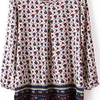 Multi Colored Floral Printed Long Sleeve Blouse