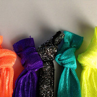 Neon Yellow Orange Turquoise Purple Black Glitter by emmaflhair