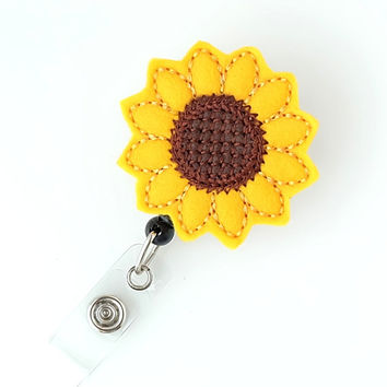 Sunflower - Felt Name Badge Holders - Cute Badge Reels - Unique Retractable ID Badge Clips - Felt Badge Pulls - Nurse Badge - BadgeBlooms