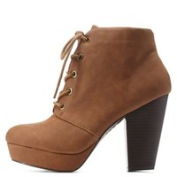 Chestnut Chunky Heel Lace-Up Booties by Charlotte Russe