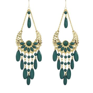 Green and Gold Large Chandelier Earrings
