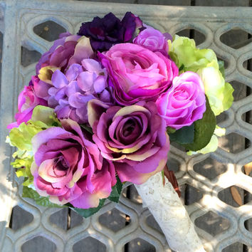 Silk Peonies Wedding Bouquet. Purple Wedding Bouquet. Silk Hydrangea Ranunculus Roses Bridal Bouquet Groom's Boutonniere Set. Ready to Ship