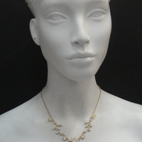 Vine and Flower Necklace Made with White Opal Swarovski Crystals 24K Gold Plated