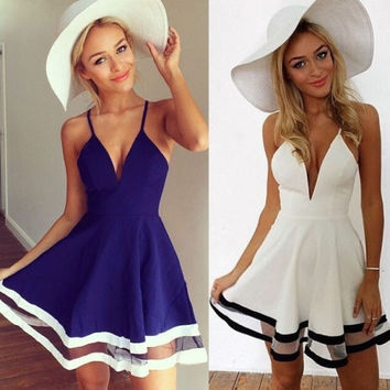 Sexy Women Fashion Lady Girl Summer Beach Dress Casual Boho Sleeveless Party Evening Cocktail Short Mini Dress Sundress = 4904957636