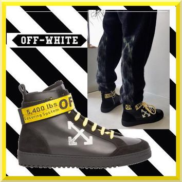 "virgil abloh Off-white Arrows High Top Sneakers ""Black Gold""OMIA051F173500201001"