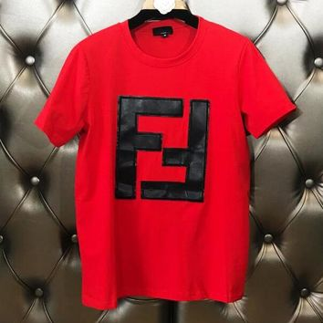 FENDI New Trending Women Stylish Double F Alphabet Leather Embroidery Short Sleeve Round Collar T-Shirt Top Red