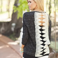 Lightweight Lace Back Patch Sweater Black CLEARANCE