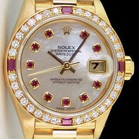 Rolex Lady Datejust President Gold Mother Pearl Diamond Ruby 79178 - WATCH CHEST
