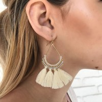 Let's Tassel Earrings in Ivory