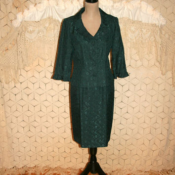 90s Skirt Suit Womens Suits Cocktail Suit Small Petite Dark Green Suit Jacquard Damask Dressy Ruffled Christmas Suit Womens Vintage Clothing