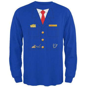 Halloween Train Conductor Costume Royal Adult Long Sleeve T-Shirt