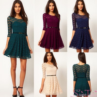 Sexy Womens  Spoon Neck Lace Slim 3/4 Sleeve Party Mini Dress with belt 16855 Vestidos = 5659293953